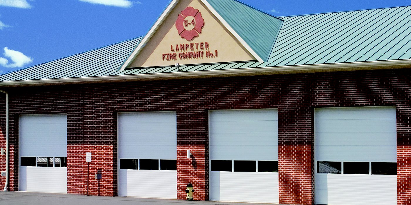 Lampeter Fire Companies garage with 4 rolling steel garage doors