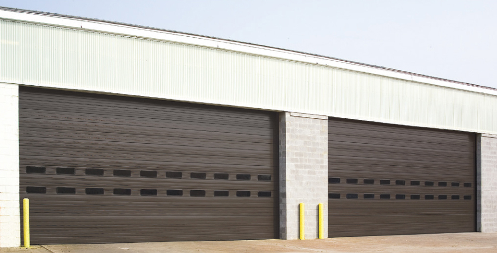 two large, brown commercial garage doors