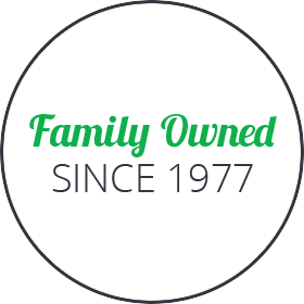 family owned since 1977 badge